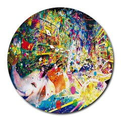 Multicolor Anime Colors Colorful Round Mousepads