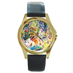 Multicolor Anime Colors Colorful Round Gold Metal Watch