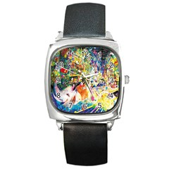 Multicolor Anime Colors Colorful Square Metal Watch