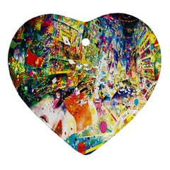 Multicolor Anime Colors Colorful Heart Ornament (two Sides)