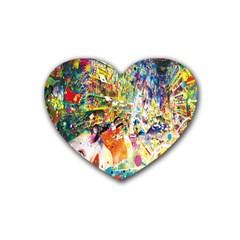 Multicolor Anime Colors Colorful Rubber Coaster (heart)
