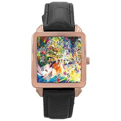Multicolor Anime Colors Colorful Rose Gold Leather Watch