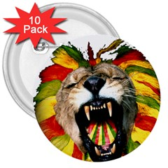 Reggae Lion 3  Buttons (10 Pack)