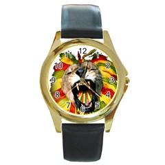 Reggae Lion Round Gold Metal Watch