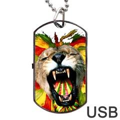 Reggae Lion Dog Tag Usb Flash (one Side)