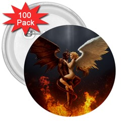 Angels Wings Curious Hell Heaven 3  Buttons (100 Pack)