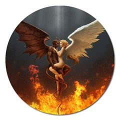 Angels Wings Curious Hell Heaven Magnet 5  (round)