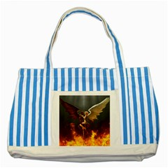 Angels Wings Curious Hell Heaven Striped Blue Tote Bag