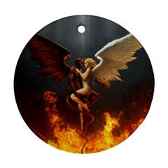 Angels Wings Curious Hell Heaven Round Ornament (two Sides)