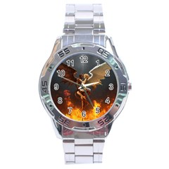Angels Wings Curious Hell Heaven Stainless Steel Analogue Watch