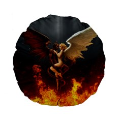 Angels Wings Curious Hell Heaven Standard 15  Premium Flano Round Cushions