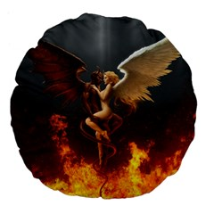 Angels Wings Curious Hell Heaven Large 18  Premium Flano Round Cushions