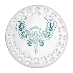 Angel Tribal Art Round Filigree Ornament (two Sides)