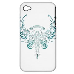 Angel Tribal Art Apple Iphone 4/4s Hardshell Case (pc+silicone)