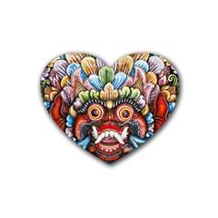 Wood Sculpture Bali Logo Rubber Coaster (heart)