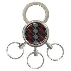 Wool Texture With Great Pattern 3 Ring Key Chains