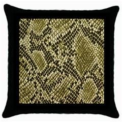 Yellow Snake Skin Pattern Throw Pillow Case (black)