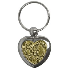 Yellow Snake Skin Pattern Key Chains (heart)