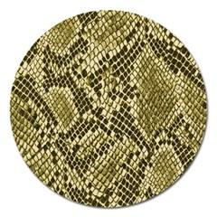 Yellow Snake Skin Pattern Magnet 5  (round)