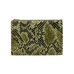 Yellow Snake Skin Pattern Cosmetic Bag (medium)