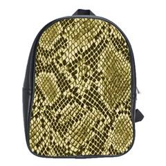 Yellow Snake Skin Pattern School Bags(large)