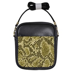 Yellow Snake Skin Pattern Girls Sling Bags
