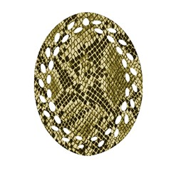 Yellow Snake Skin Pattern Oval Filigree Ornament (two Sides)