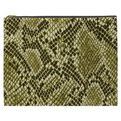Yellow Snake Skin Pattern Cosmetic Bag (xxxl)