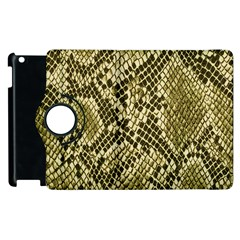 Yellow Snake Skin Pattern Apple Ipad 3/4 Flip 360 Case