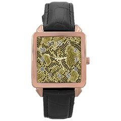 Yellow Snake Skin Pattern Rose Gold Leather Watch