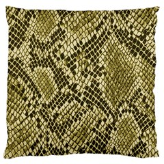 Yellow Snake Skin Pattern Large Flano Cushion Case (one Side)