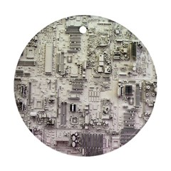 White Technology Circuit Board Electronic Computer Ornament (round)
