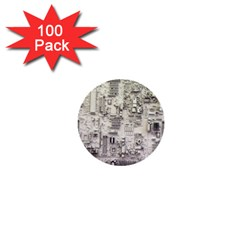 White Technology Circuit Board Electronic Computer 1  Mini Buttons (100 Pack)
