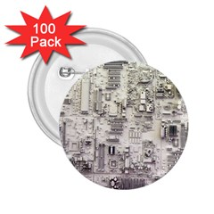 White Technology Circuit Board Electronic Computer 2 25  Buttons (100 Pack)
