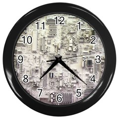 White Technology Circuit Board Electronic Computer Wall Clocks (black)