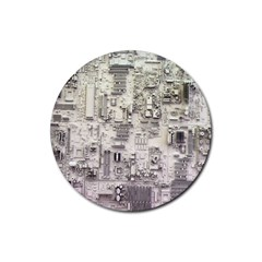 White Technology Circuit Board Electronic Computer Rubber Round Coaster (4 Pack)