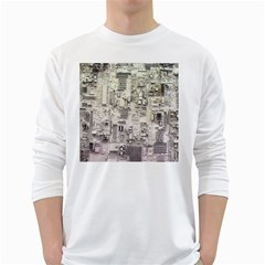 White Technology Circuit Board Electronic Computer White Long Sleeve T Shirts