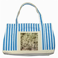 White Technology Circuit Board Electronic Computer Striped Blue Tote Bag