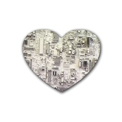 White Technology Circuit Board Electronic Computer Rubber Coaster (heart)