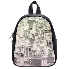 White Technology Circuit Board Electronic Computer School Bags (small)