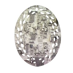 White Technology Circuit Board Electronic Computer Oval Filigree Ornament (two Sides)