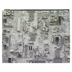 White Technology Circuit Board Electronic Computer Cosmetic Bag (xxxl)
