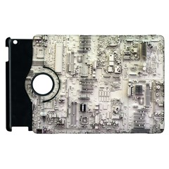 White Technology Circuit Board Electronic Computer Apple Ipad 3/4 Flip 360 Case