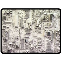 White Technology Circuit Board Electronic Computer Double Sided Fleece Blanket (large)