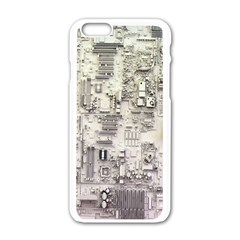 White Technology Circuit Board Electronic Computer Apple Iphone 6/6s White Enamel Case