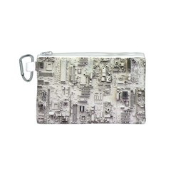 White Technology Circuit Board Electronic Computer Canvas Cosmetic Bag (s)