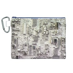 White Technology Circuit Board Electronic Computer Canvas Cosmetic Bag (xl)