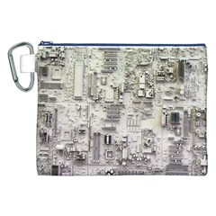 White Technology Circuit Board Electronic Computer Canvas Cosmetic Bag (xxl)