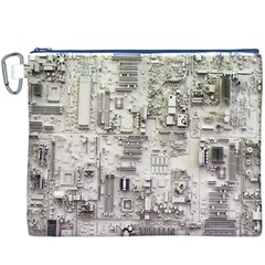 White Technology Circuit Board Electronic Computer Canvas Cosmetic Bag (xxxl)