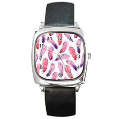 Watercolor Pattern With Feathers Square Metal Watch